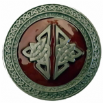 CELTIC ROUND (RED) Belt Buckle + display stand. Code CH6